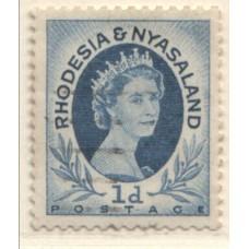 1954 RHODESIA and  NYASALAND QEII 1d coil 7 VFU.