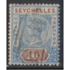 1890 SEYCHELLES QV 10c Ultra. & brown Die I VFU.