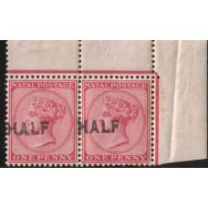 1895 NATAL QV HALF on 1d pair  plus flaw MNH
