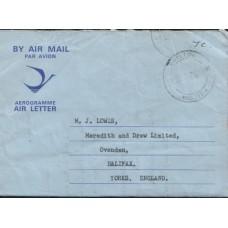 1972 RHODESIA Aerogramme to England