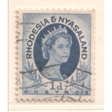 1954 RHODESIA and NYASALAND 1d Coil Wave cancel FU.