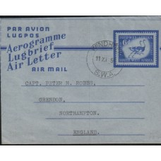 1954 SOUTH WEST AFRICA 6d Ostrich Aerogramme VFU