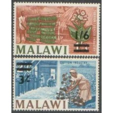 1965 MALAWI 1s6d and 3s overprint values VF LMM.