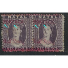 1895 NATAL QV 1/2d on 6d var P & T pair VF MINT