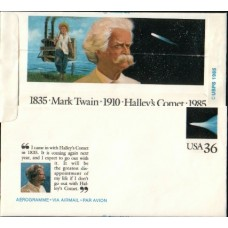 1985 US Aerogramm Mark Twain (author) Comet
