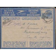 1941 SOUTH AFRICA AEROGRAMM 3d ASLC VFU