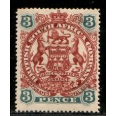 1897 B. S. A. Co. 3d Coat of Arms SG69 cv£9.00 VF LMM.