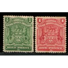 1898 B. S. A. Co. CoA 1/2d  green & 1d red cv£18.00 VF LMM.