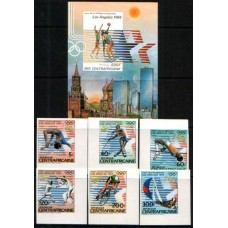 1983 CENTRAL AFRICAN REPUBLIC Los Angeles Olympic set & Miniature sheet cv£13.15 MNH