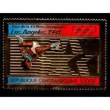 1982 CENTRAL AFRICAN REPUBLIC 1500F Los Angeles '84 Olympic Gold foil MNH