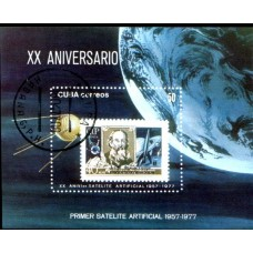 1977 CUBA Space - 20 Years since Sputnik Miniature Sheet VFU.