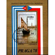 1978 CUBA Praga '78 - Boat, International Philatelic Exhibition MS VFU