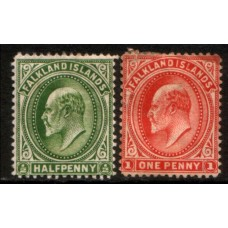 1904 FALKLAND Is.  KE 1/2d & 1d values MM