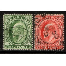 1904 FALKLAND Is.  KE 1/2d & 1d values VFU