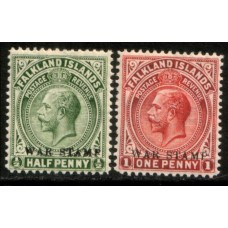 1918 FALKLAND Is.  KGV 1/2d & 1d War Stamp issue LMM