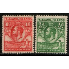 1929 FALKLAND Is.  KGV 1/2d & 1d values LMM