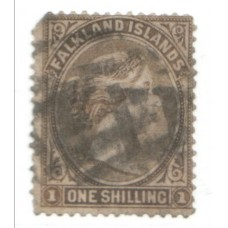 1891 FALKLAND IS. QV 1s grey-brown FU