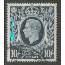 1939 KGVI 10sh dark blue.flaw 'Blot on Scroll  VFU