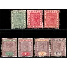 1884 - 98 GOLD COAST 6 QV values cv£47.25 LMM.
