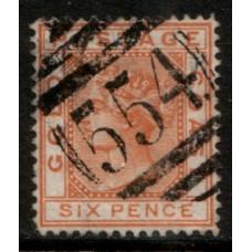 1876 GOLD COAST QV 6d cv£27.00 VFU.