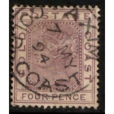 1884 GOLD COAST #2 QV 4d mauve postmark AXIM 7 May 94 VFU.