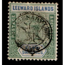 1897 LEEWARD ISLANDS QV Diamond Jubilee 5s green & blue RARE VF LMM