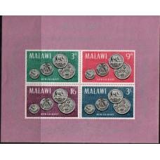 1964 MALAWI Coins miniature sheet LMM.