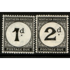 1929 NORTHERN RHODESIA 1d on chalk-surface paper & 2d Postage Due cv£33.00 MNH.