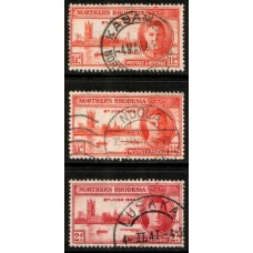1946 NORTHERN RHODESIA Victory #1 set with 1-1/2d perf 13.5 (center) cv£14.25 VFU