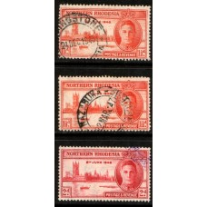 1946 NORTHERN RHODESIA Victory #2 set with 1-1/2d perf 13.5 (center) cv£14.25 VFU