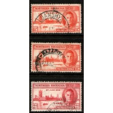 1946 NORTHERN RHODESIA Victory #3 set with 1-1/2d perf 13.5 (center) cv£14.25 VFU
