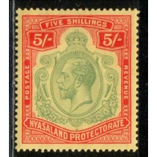 1921 NYASALAND KGV 5 Shilling green & red on yellow LMM