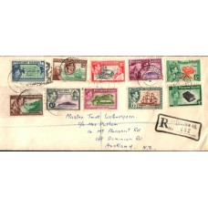 1956 PITCAIRN IS. KGVI Late usage complete set on Registered commercial cover to NZ