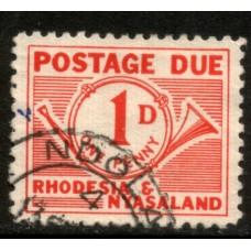 1961 RHODESIA & NYASALAND 1d Postage Due VFU