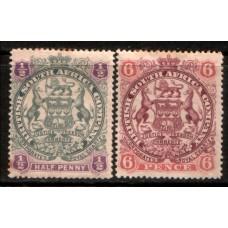 1897 RHODESIA - B. S. A. Co. 1/2d & 6d cv£26.5 MM