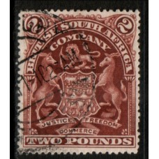 1908 RHODESIA - B.S.A. Co. £2 Brown SG91 VFU.