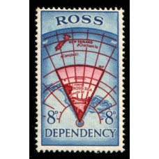 1957 ROSS DEPENDENCY 8d Map in Red & Blue MNH