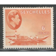 1938 SEYCHELLES KGVI 6c orange VF-LMM.