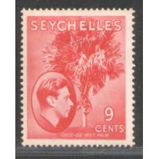 1938 SEYCHELLES KGVI 9c scarlet VF-LMM.