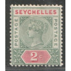 1890 SEYCHELLES QV 2c green & carmine Die I VF-LMM.