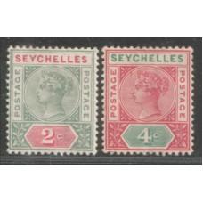 1890 SEYCHELLES QV 2c & 4c Die 2 VF-LMM.
