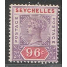 1890 SEYCHELLES QV 96c mauve & carm. Die1 LMM.