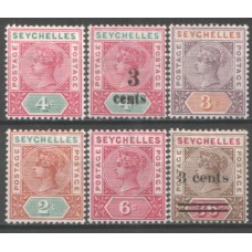 1890-1901 SEYCHELLES Six QV values #2 VF-LMM