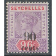 1893 SEYCHELLES QV 90c on 96c LMM.