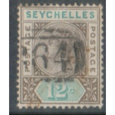 1893 SEYCHELLES QV 12c sepia & green VFU.