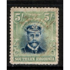 1924 SOUTHERN RHODESIA KGV 5 Shilling used as Revenue (cv£170.00) GU