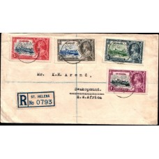 1935 SAINT HELENA KGV Silver Jubilee Turrent Flaw on 1-1/2d - Cover VF