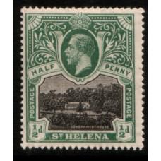 1912 St. HELENA KG 1/2d black & green LMM