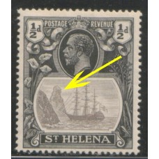 1922 St. HELENA KGV 1/2d  grey & black CLEFT Rock flaw LMM.