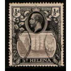 1922 St. HELENA KGV 1/2d grey & black VFU